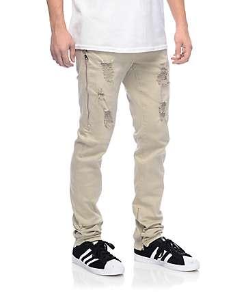 Crysp Fom 2.0  pantalones joggers asargados con cremalleras en color caqui