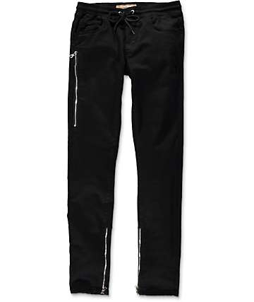 Crysp Fom 2.0 Black Twill Zipper Pants