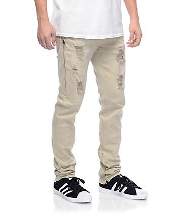Crysp Fom 2.0 Khaki Ripped Twill Zipper Pants