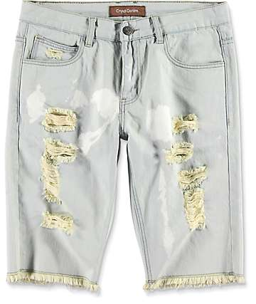 Crysp Olympic Light Blue Fade Distressed Shorts