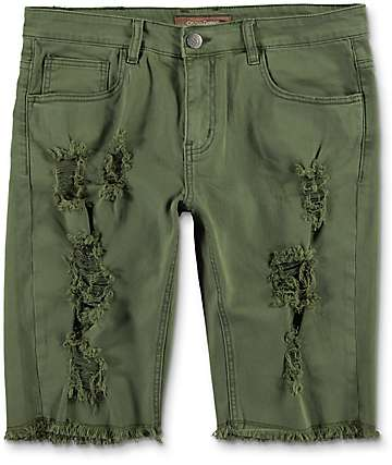 Crysp Treasures Olive Distressed Shorts