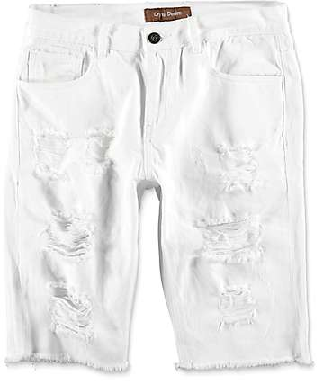 Crysp Treasures White Distressed Shorts