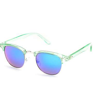 Crystal Green Retro Sunglasses