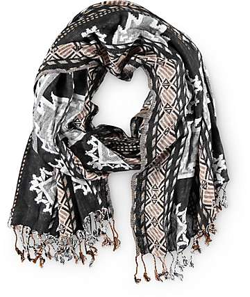 D&Y Aztec Black Oblong Scarf