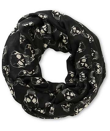 D&Y Black Skull Print Infinity Scarf