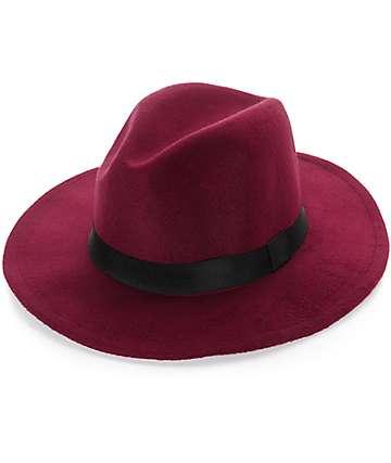 D&Y Burgundy Felt Panama Hat