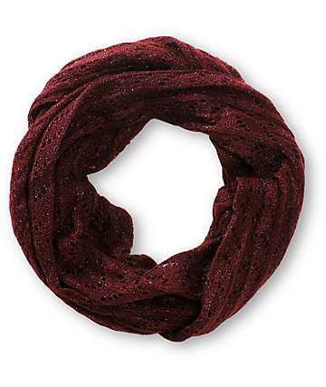D&Y Burgundy Speckle Knit Infinity Scarf