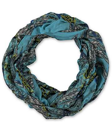 D&Y Teal Feather Print Infinity Scarf