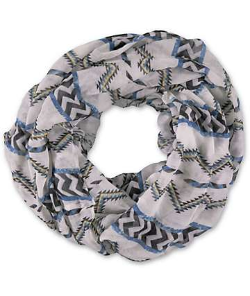 D&Y White Tribal Stripe Infinity Scarf