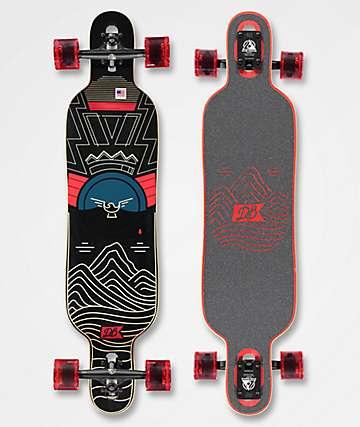 """DB Pioneer Red & Black 40"""" Drop Through Longboard Complete"""