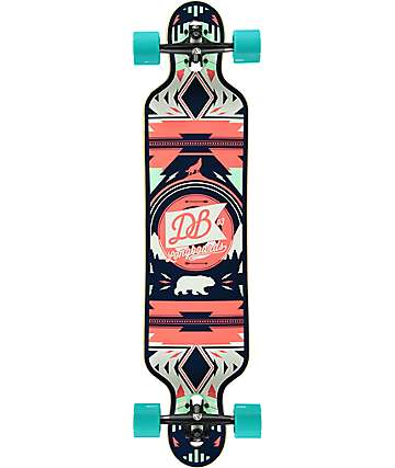 "DB Urban Native Red & Seafoam 40"" longboard Drop Through completo"