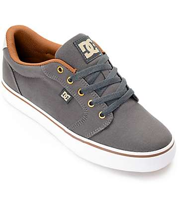 DC Anvil TX Charcoal, Camel & White Skate Shoes