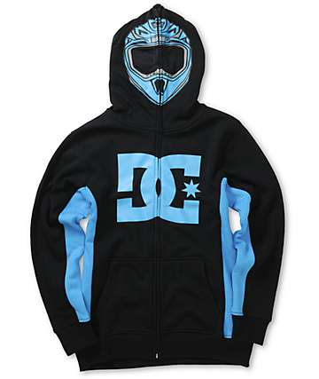 DC Boys Moto Full Zip Up Face Mask Hoodie