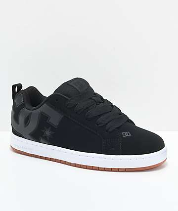 DC Court Graffik SE Black, White & Gum Skate Shoes