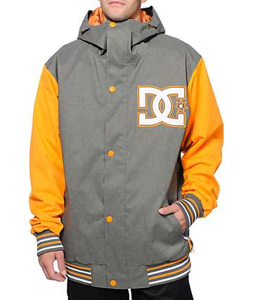 DC DCLA 10K Grey & Orange Varsity Snowboard Jacket
