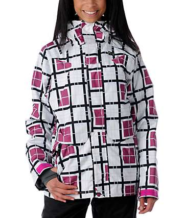 DC Fuse White Plaid Snowboard Jacket