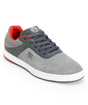 DC Mike Mo S Grey & Red Skate Shoes