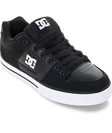DC Pure Black and White Skate Shoes