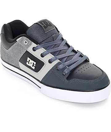 DC Pure SE Grey & Black Skate Shoes