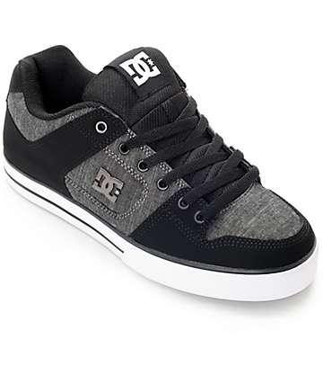 DC Pure TX SE zapatos de skate en negro, gris y blanco