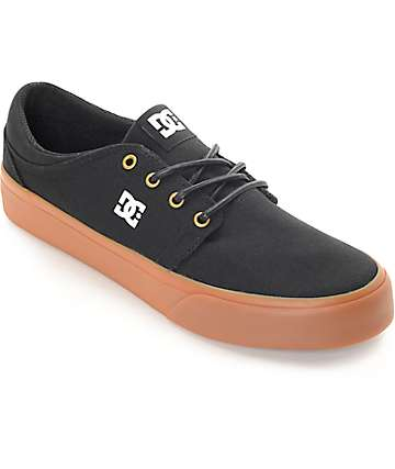 DC Trase Black Canvas, Gold & Gum Skate Shoes