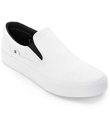 DC Trase Slip-On TX All White Canvas Skate Shoes