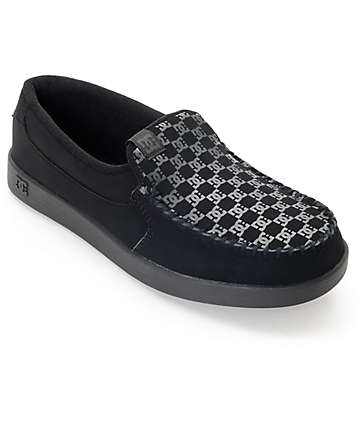 DC Villain Black & Black Print Slip On Shoes