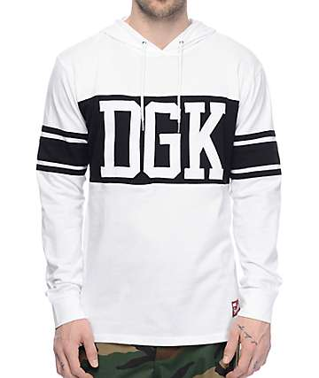 DGK Arena White & Black Hooded Long Sleeve Knit T-Shirt