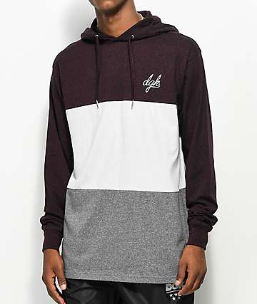 DGK Blocked Burgundy Hooded Long Sleeve T-Shirt