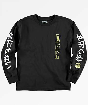 DGK Boys Kanji Black Long Sleeve T-Shirt