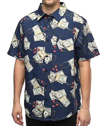 DGK Come Up Navy Button Up Shirt