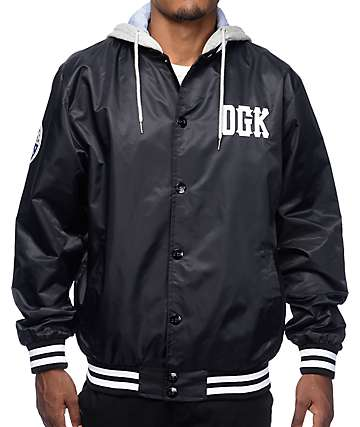 DGK Doubleplay Black Hooded Varsity Jacket