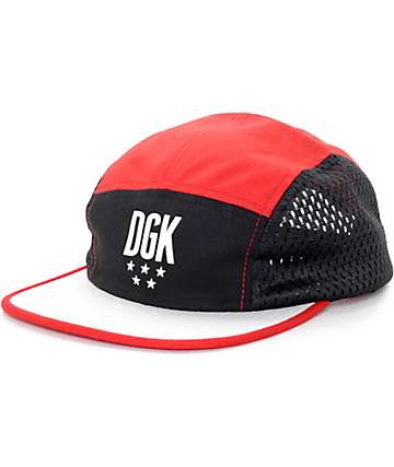 DGK Flight Red, Black, & White 5 Panel Hat
