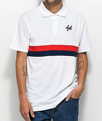 DGK Fulton Red, White & Blue Polo T-Shirt