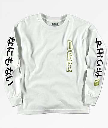 DGK Kanji camiseta blanca de manga larga para niños