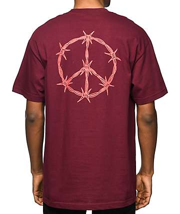 DROPOUT CLUB INTL Carson Darryl Peace Burgundy T-Shirt