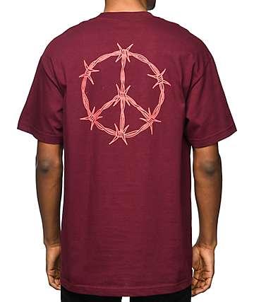 DROPOUT CLUB INTL Carson Darryl Peace Burgundy T-Shirt