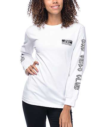 DROPOUT CLUB INTL. Bad Vibes White Long Sleeve T-Shirt