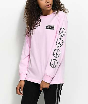 DROPOUT CLUB INTL. Barbed Wire Peace Pink Long Sleeve T-Shirt