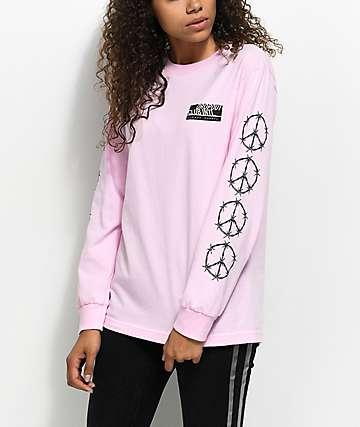 DROPOUT CLUB INTL. Barbed Wire Peace camiseta rosa de manga larga