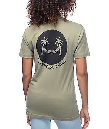 DROPOUT CLUB INTL. Everybody Chill Olive T-Shirt