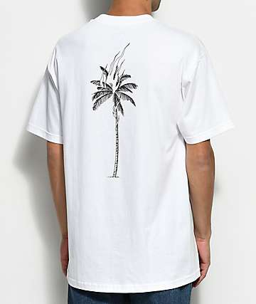 DROPOUT CLUB INTL. Palm Flame Nathan Kostechko White T-Shirt