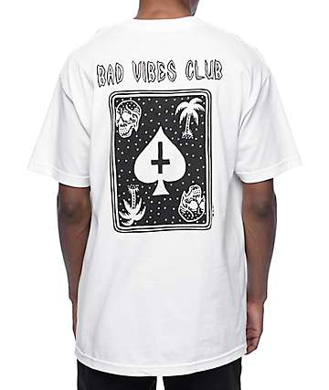 DROPOUT CLUB INTL. Space Bat Killer Bad Vibes Club White T-Shirt