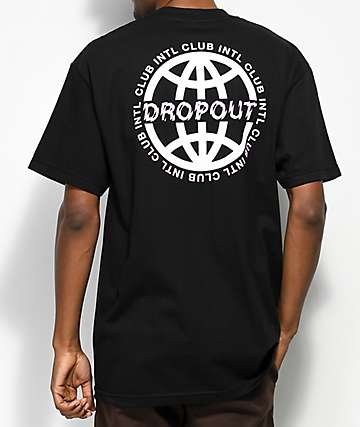 DROPOUT CLUB INTL. Worldwide Black T-Shirt