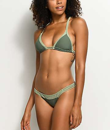 Damsel Army Green Cheeky Bikini Bottom