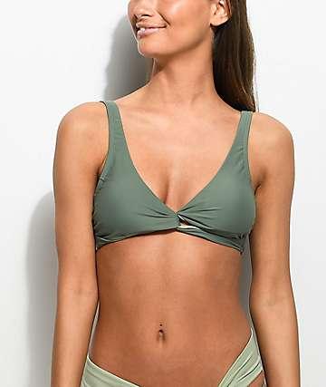 Damsel Army Green Wrap Bikini Top