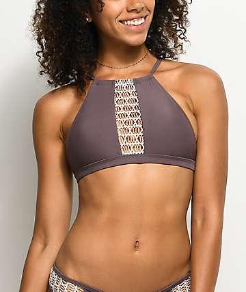 Damsel Bali top de bikini con cuello alto en morado