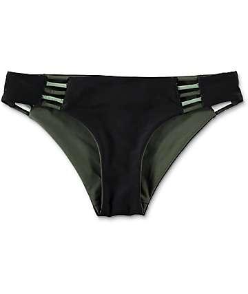 Damsel Black & Olive Reversible Cheeky Bikini Bottom