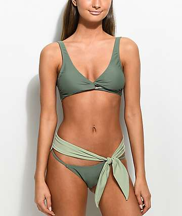 Damsel Bow Army Green Super Cheeky Bikini Bottom