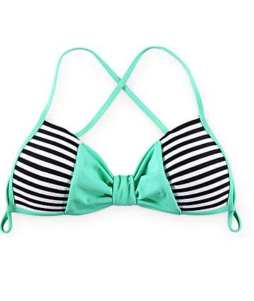 Damsel Bow Stripe Molded Cup Bikini Top